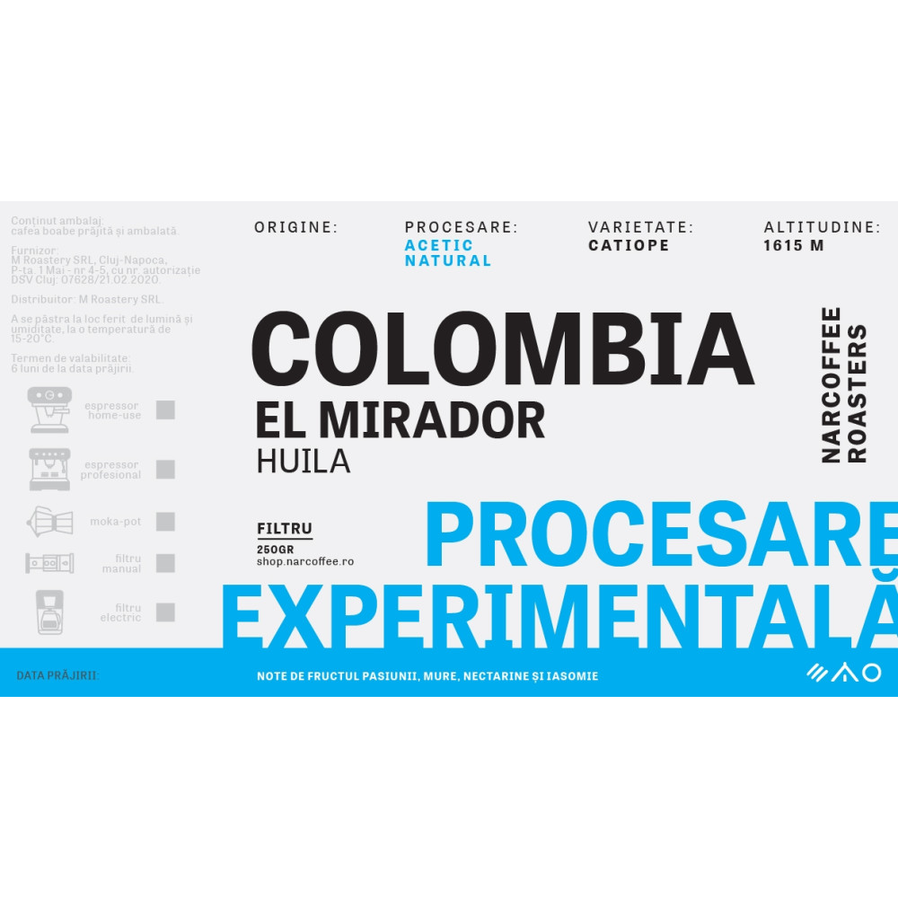 Colombia, El Mirador - Acetic Natural Filtru